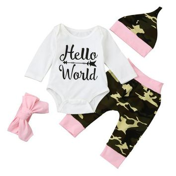 "4PC Baby Girl's Pink And Army Green Camouflage Outfit Coming Home Outfit ""Hello World"" Matching Headband and Cap"