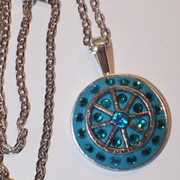 Unique Teal Crystal Clay Swarovski Crystal and Metal embelishment Necklace, Pendant