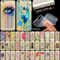 """Phone Case Cover For iPhone 6 6s 4.7"""" Ultra Soft TPU Transparent Flowers Animals Cat Feather Peacock Patterns Back Design"""