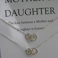 Mother Daughter Jewelry. Mom DAUGHTER. Mommy Necklace. Moms Birthday. Inspirational. Mother of the Bride. Bridal Party Gifts.