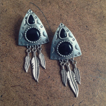 Vintage Tribal Earrings - Black Stones