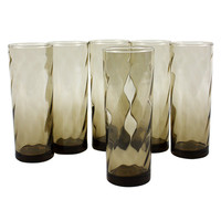 Tall Collins Bar Glasses, Smokey Brown Optic Swirl, Dominion Glass ***FREE SHIPPING***