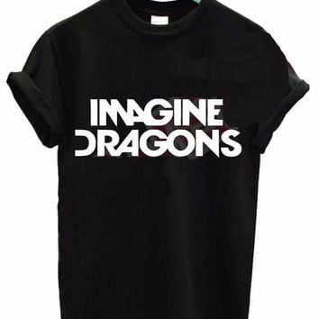 YEMUSEED 2016 Women Tshirt IMAGINE DRAGONS Print Cotton Casual Funny Shirt For Lady Black White Top Tee Hipster WMT181