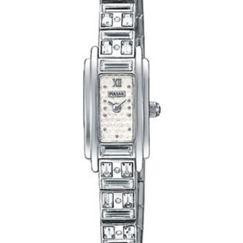 Pulsar Ladies Watch 26 Swarovski Crystals - Stainless - Silver/White Dial