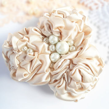 Flower Hairpiece, Flower Headpiece, Ivory Grey Satin Fabric Flower Hair Clip with White Pearl Beads, Adult Handmade Hair Accessories
