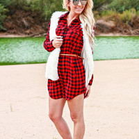 SEE YOU IN THE FALL PLAID DRESS