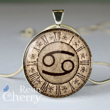 Cancer charm jewelry,Zodiac necklace pendant,Cancer pendant charm,Zodiac resin pendants- T0653CP