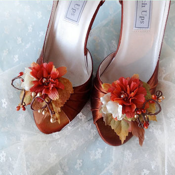 fall wedding shoe clips autumn shoe clips rust by thehoneycomb