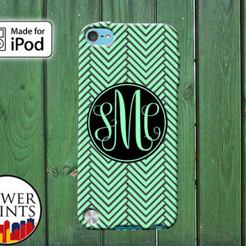 Mint Green Chevron Pattern Cursive Custom Monogram Initials for iPod Touch 4th Generation and iPod Touch 5th Generation Gen Plastic Rubber