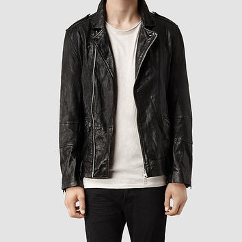 AllSaints Griffin Leather Biker Jacket | Mens Leather Jackets