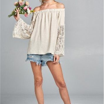 Long Sleeve Off the Shoulder top with Lace Bell Sleeves - Natural