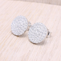 925 sterling silver pave cubic zirconia big full moon round stud earrings