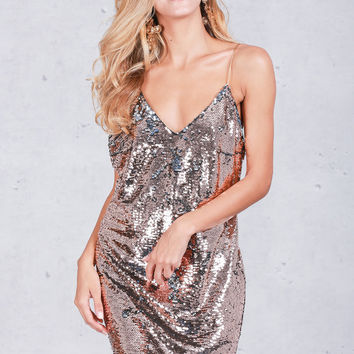 Sequin Strap Mini Dress