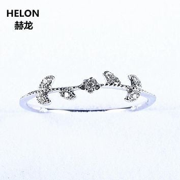 Natural Diamonds Wedding Band Solid 10k White Gold Engagement Women Ring Girl Fine Jewelry Art Deco Leaf Flower