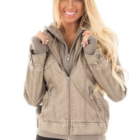 Taupe Hooded Faux Leather Jacket