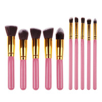 10Pcs Pink Makeup Blush Eyeshadow Blending Set Concealer Cosmetic Make Up Brushes Tool Eyeliner Lip Brushes Gift