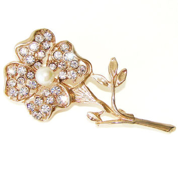 Vintage Flower Brooch, Crystal Rhinestones, Faux Pearl Center