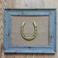 NEW! Shabby Chic Frame w Genuine Used Horseshoe w Burlap Background, framed horseshoe, Lucky Pony Shop, horseshoe, decorated horseshoe