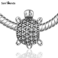 Authentic 100% 925 Sterling Silver Bead Charm Mini Sea Turtle CZ Crystal Beads Fit Pandora Bracelets & Bangles Necklace YW20131