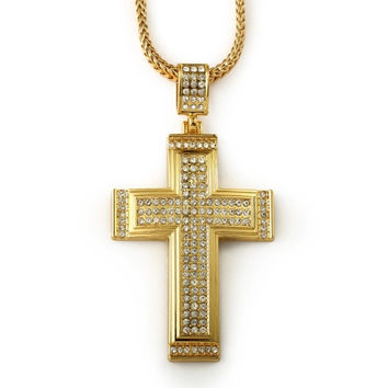 Gold Cross and 18K Gold Plated Chain
