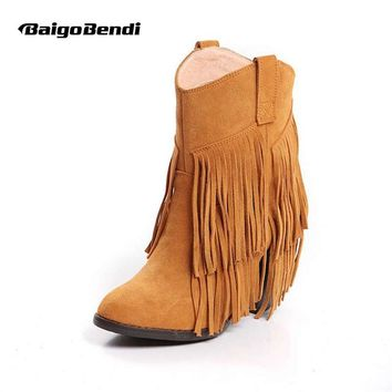 Women Pointed Toe Western Style Ankle Boots Ladies Cow Suede Leather Fringe Moccasin Cowboy Winter Tassel Boots