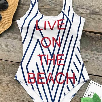 Cupshe Live On The Beach Print One-piece Swimsuit