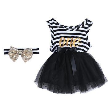 2017 New Summer Dress Baby Girls Sleeveless Striped Dresses Kids Bow-Knot Clothes Casual Baby Clothing with Headband
