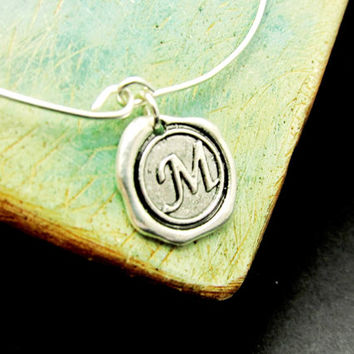 Initial Stackable Bangles, Wax Seal Initial Bangle, Monogram Sterling Silver, LoVE Friendship Bridesmaid, Mothers Gift, Stacking Bangles