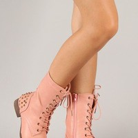 Libby-02 Studded Military Lace Up Mid Calf Boot