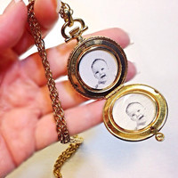 Vintage Locket Necklace Photo Holder Pocket Watch Style