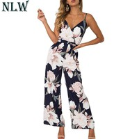 NLW Boho Floral Summer Jumpsuit V Neck Strap Sexy Long Romper Women Chiffon 2018 Beach Party Overalls Playsuit overalls