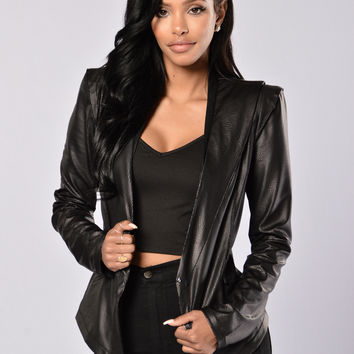 Reptilia Vegan Leather Jacket - Black