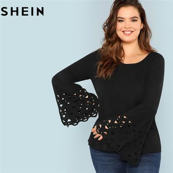 SHEIN Solid Black Long Bell Sleeve Cut Out Cuff Plus Size Women Top And Tees Office Lady Elegant Spring Autumn Workwear T Shirt