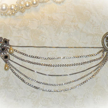 Vintage Carolee Sweater Guard Pin Clips Sweater Holder Silver Tone Faux Pearl Rhinestone Necklace