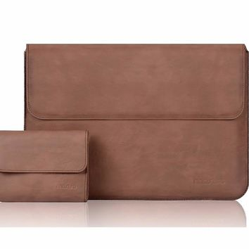 MOSISO Black/Brown Luxury PU Sleeve Bag for Macbook Air 13/Pro 13 Retina,Laptop Sleeve Pouch Cover Case For Mac book 13.3 inch