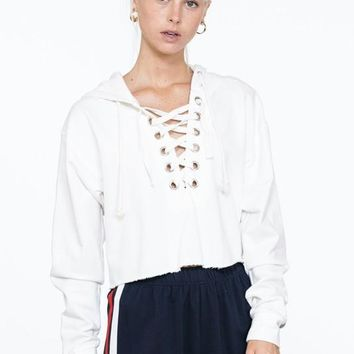 Hooded Lace Up Side Stripe Crop Top Sweater - Off White