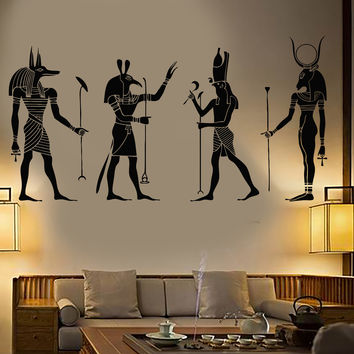Vinyl Wall Decal Egypt Egyptian Gods Anubis Ra Seth Apis Stickers Unique Gift (1239ig)
