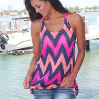 Navy and Hot Pink Chevron Tank Top