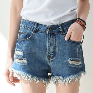 SALE - High Waisted Denim Blue Shorts, Distressed Hipster/Grunge Style, All Sizes!!