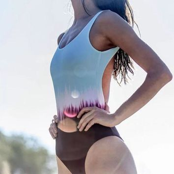 Gradient Ombre Tropical One-Piece Swimsuit