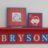 "Baby Nursery Transportation Wall Art Boy Name Sign with Cars 30"" Red Shelf 8 Personalized Blue / Red Plaques Baby Name Sign BRYSON with Cars"