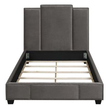 Coaster Furniture Lawndale Nailhead Upholstered Panel Bed | Hayneedle