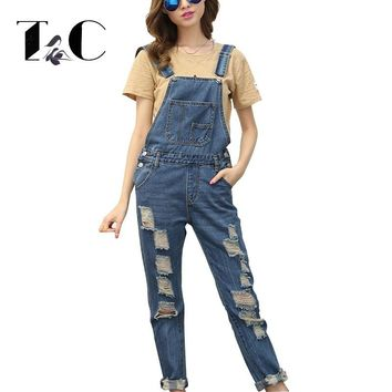 TC Plus Size 5XL 4XL Womens Jumpsuit Denim Overalls 2017 Autumn Casual Ripped Hole Loose Pants Ripped Jeans Coverall FT00425