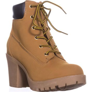 ZIGI Kiana Lug Sole Combat Boots, Wheat/Brown, 8 US