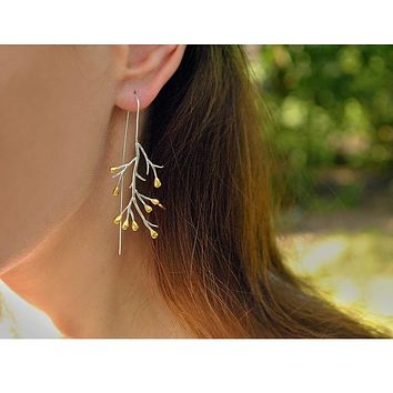 Handmade 14K Yellow Gold & Sterling Silver Leaf Drop Earrings