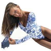 Floral Print One Piece Swimsuit Long Sleeve Swimwear Bathing Suit Surfing