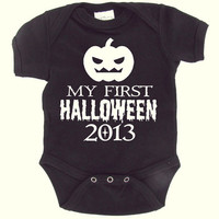 First Halloween - Pumpkin - Black Baby Onesuit - Baby Boy - Baby Girl - Babies First Halloween