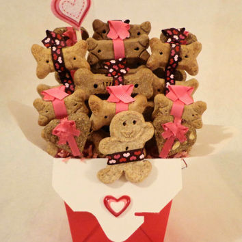 Valentines day Dog biscuit treat gift basket, unique gift, pink, red, hearts, personalized