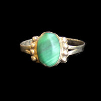 Vintage Oval Malachite Ring In Sterling Silver