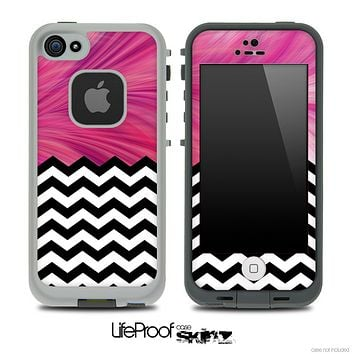 Mixed Flowing Pink and Chevron Pattern Skin for the iPhone 5 or 4/4s LifeProof Case